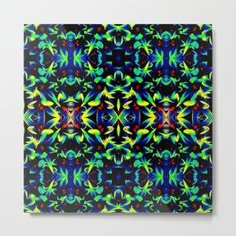 Blue Green Yellow Abstract Art Pattern Metal Print