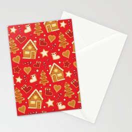 Christmas gingerbread house pattern red Stationery Cards