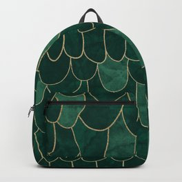 Stratosphere Emerald // Abstract Green Flowing Gradient Gold Foil Cloud Lining Water Color Decor Backpack