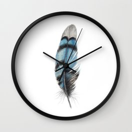 Blue Jay Feather | Watercolour Painting Wall Clock