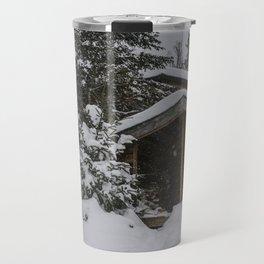 Winter at Lonesome Lake Hut Travel Mug