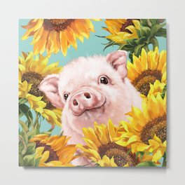Baby Pig with Sunflowers in Blue Metal Print