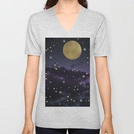 Cloudy Purple Midnight Blue Starry Night Sky #1 #decor #art #society6 Unisex V-Neck