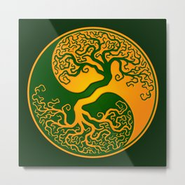 Green and Yellow Tree of Life Yin Yang Metal Print