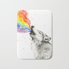 Wolf Howling Rainbow Watercolor Bath Mat