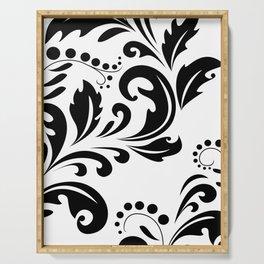 Bold Black & White Damask Pattern Serving Tray