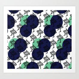 Abstract Tribal Circular Black Blue Green Spikes Art Print