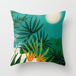 Tropical Moonlight / Tropical Night Series #1 Throw Pillow