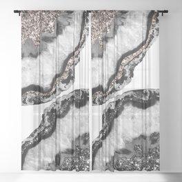Yin Yang Agate Glitter Glam #1 #gem #decor #art #society6 Sheer Curtain