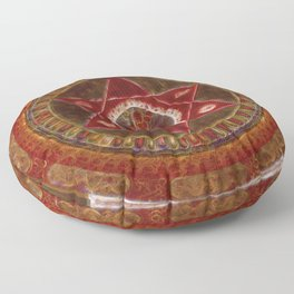 Vajrayogini stands in the center of two crossed red triangles Floor Pillow