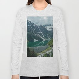 italy alps mountain snow camping vanlife village drone aerial roadtrip lake water Long Sleeve T-shirt