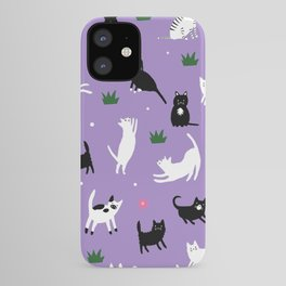 Black & White Kitties on Purple iPhone Case