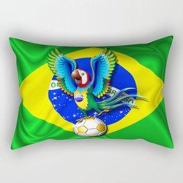 Brazil Macaw Parrot with Soccer Ball Rectangular Pillow