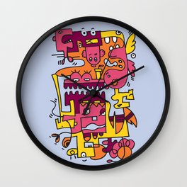 Light Blue Doodle Monster World by Pablo Rodriguez (Pabzoide) Wall Clock