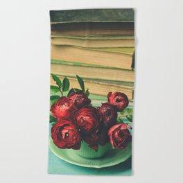Books and Flowers Beach Towel