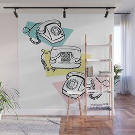 Retro phones Wall Mural