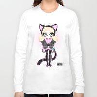 akira Long Sleeve T-shirts featuring Kitty Akira by Miss Cherry Martini