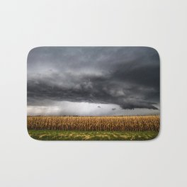 Corn Field - Storm Over Withered Crop in Southern Kansas Bath Mat