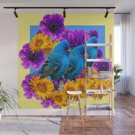THREE BLUE BIRDS & PURPLE YELLOW FLOWERS Wall Mural