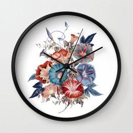 Morning Glories Flower Bouquet Wall Clock