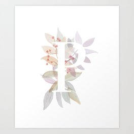 Rustic Leaves Monogram P - Watercolor Branches Design Art Print