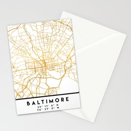 BALTIMORE MARYLAND CITY STREET MAP ART Stationery Cards