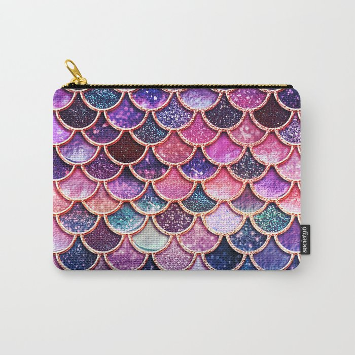 Pink & Purple Trendy Glitter Mermaid Scales Carry-All Pouch