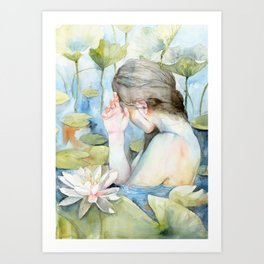 Let me go, White Water Lily Girl Art Print