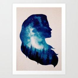 Girl Forest Double Exposure Art Print