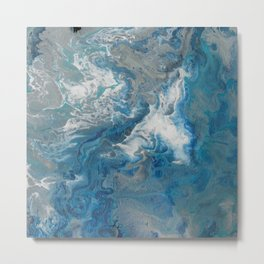 Blue Waves, abstract poured acrylic, blue, white, silver and black Metal Print