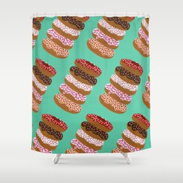 Stacked Donuts on Mint Shower Curtain