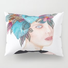 Woman in flowers, watercolor 4 Pillow Sham