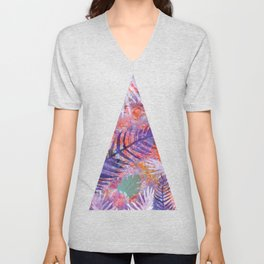 Colourful Palm Electric Garden  #tropical #palm #society6 Unisex V-Neck
