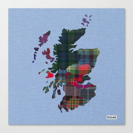 Scotland Counties Fabric Map Art Canvas Print