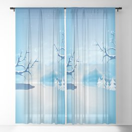Fantasy Winter Wonderland  Sheer Curtain