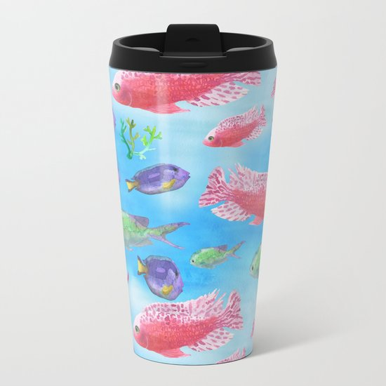 The deep sea-fishes in the sea- watercolor illustration Metal Travel Mug