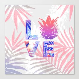 Love Pineapple Typography Tropical Boho Summer Vibes Canvas Print
