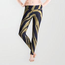 Zebra Stripes in Glam Blue and Gold Leggings