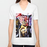 graffiti V-neck T-shirts featuring Graffiti by Ian Bevington