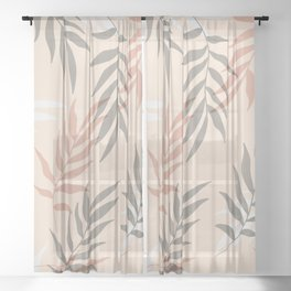 Modern Palm Leaves Pattern Sheer Curtain