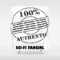 fangirl Shower Curtains featuring Authentic SciFi Fangirl by Off The Path Creative