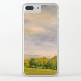 Scenic Autumn Late Afternoon in Vermont Nature Art Landscape Oil Painting Clear iPhone Case