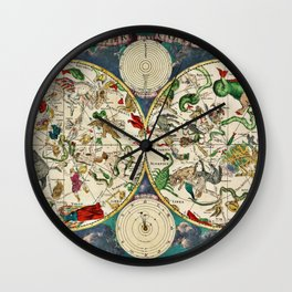 De Wit's Celestial Hemispheres, North and South, 1670 Wall Clock