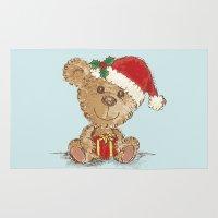 teddy bear Area & Throw Rugs featuring Teddy bear by Toru Sanogawa