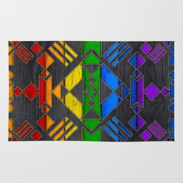 Colorful Geometric Wooden texture pattern Rug