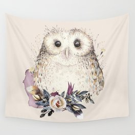 Boho Illustration- Be Wise Little Owl Wall Tapestry