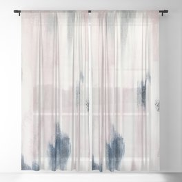 Blush Pink and Blue Pretty Abstract Sheer Curtain