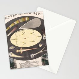 1851 Poster of Comets and meteorites Stationery Cards