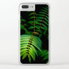 Illuminated Fern Leaf In A Dark Forest Background Clear iPhone Case