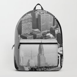 Rooftop view of Manhattan and NYC skyscraper skyline circa 1948 black and white photograph Backpack
